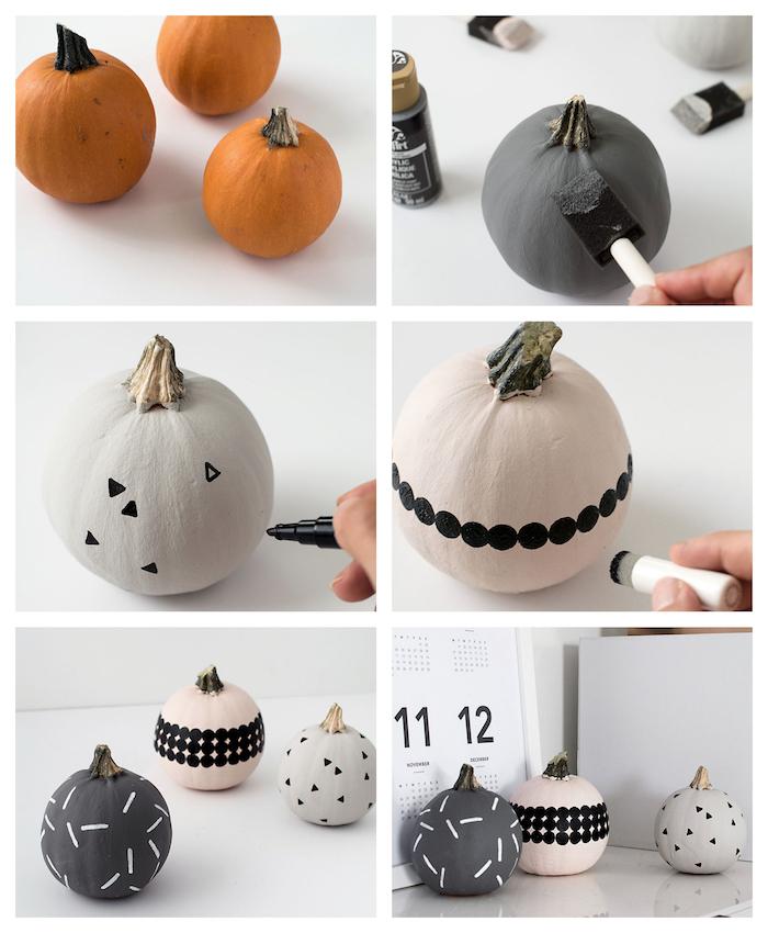exemple d activité manuelle halloween, citrouilles repeinte de peinture acryliques grise, blanche et gris anthracite avec des motifs triangles, cercles et traits