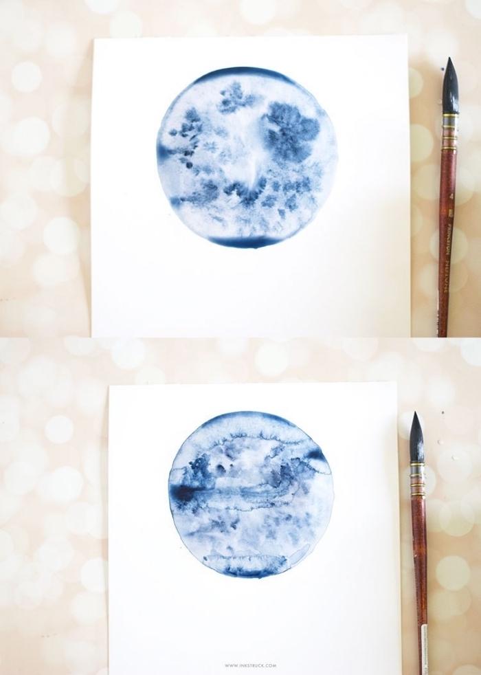 apprendre à dessiner une pleine lune bleu indigo à l'aquarelle, astuces aquarelle peinture avec un seul pigment
