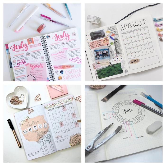 idée de planning mensuel à inclure dans son agenda personnalisé pour marquer évènements et objetis pour le mois à venir, décoration photos et stickers scrapbooking