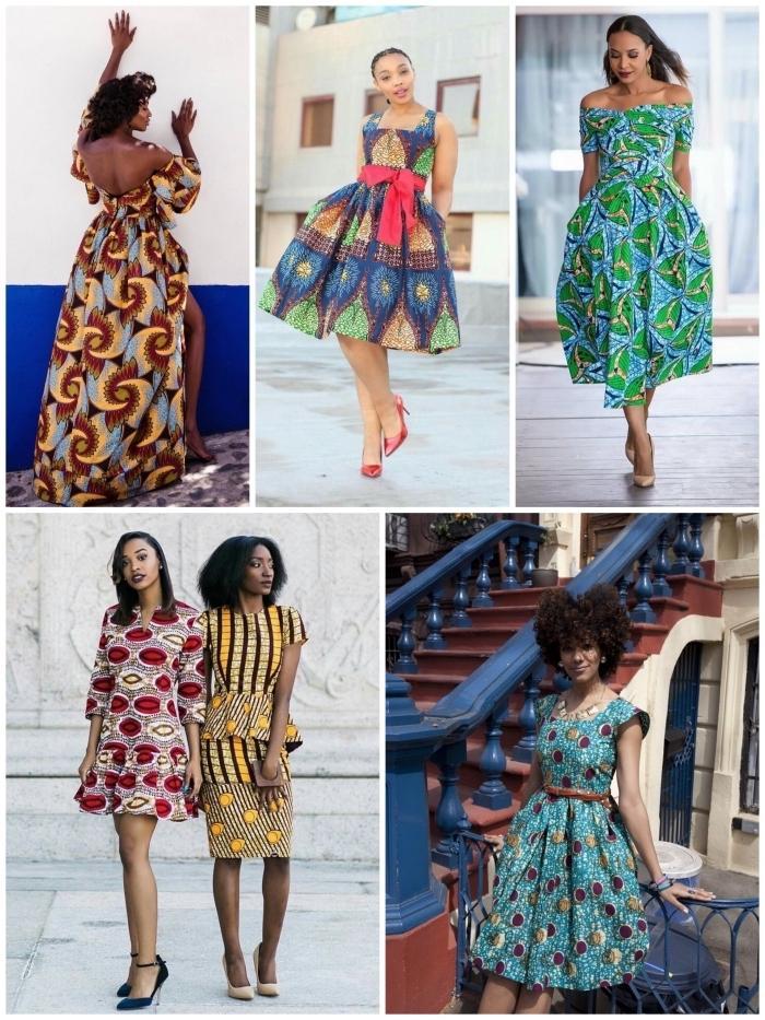 vetement africain femme pour un look chic et authentique, modèles de robes en tissu wax à motifs africains pétillants
