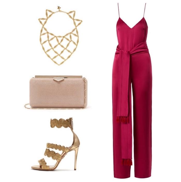 accessoires et bijoux en or à combiner avec combinaison rouge élégante avec décolleté en V et bretelles ultra fines