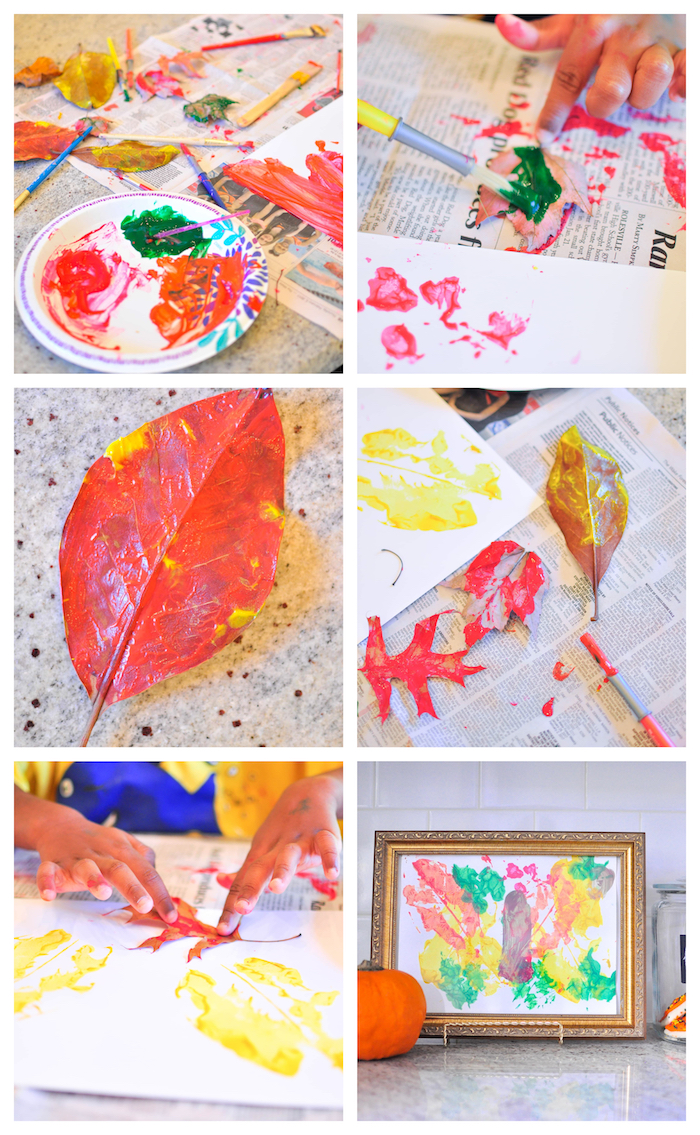 activité manuelle maternelle automne, dessin land art avec empreintes de feuilles mortes en peinture sur tableau