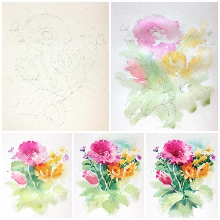 jolie composition florale à l'aquarelle réalisée avec la technique mouillé sur mouillé qui permet aux couleurs de se fondre naturellement