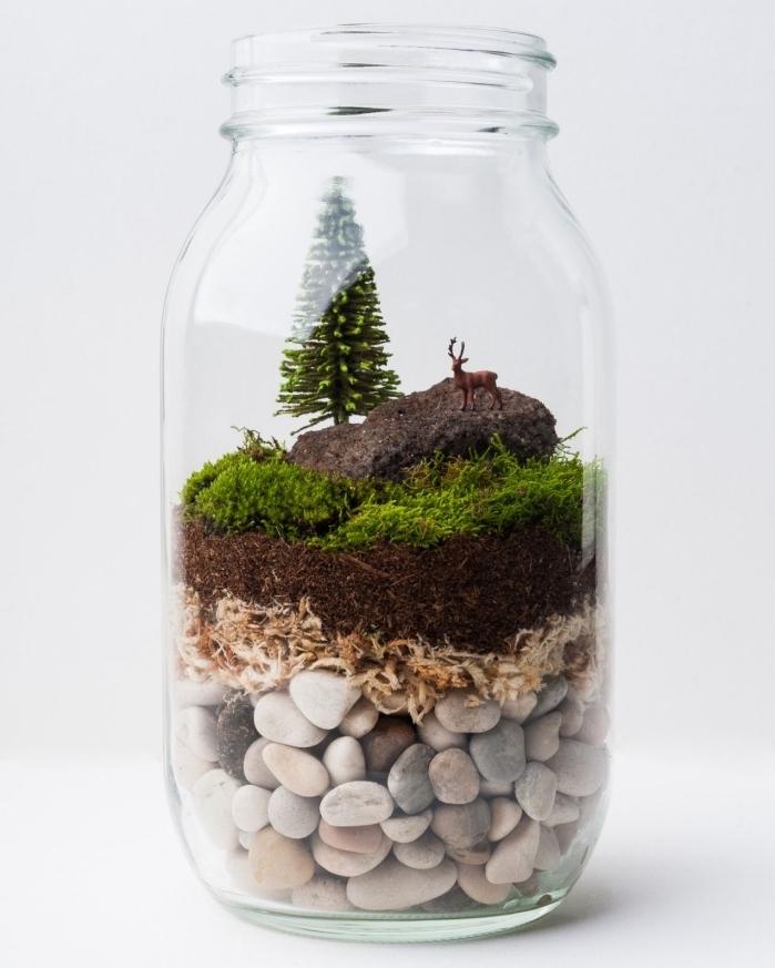idée plante en bocal fermé ou ouvert comme objet déco facile à faire soi-même, diy bocal transparent rempli de galets et mousse avec figurines décoratives