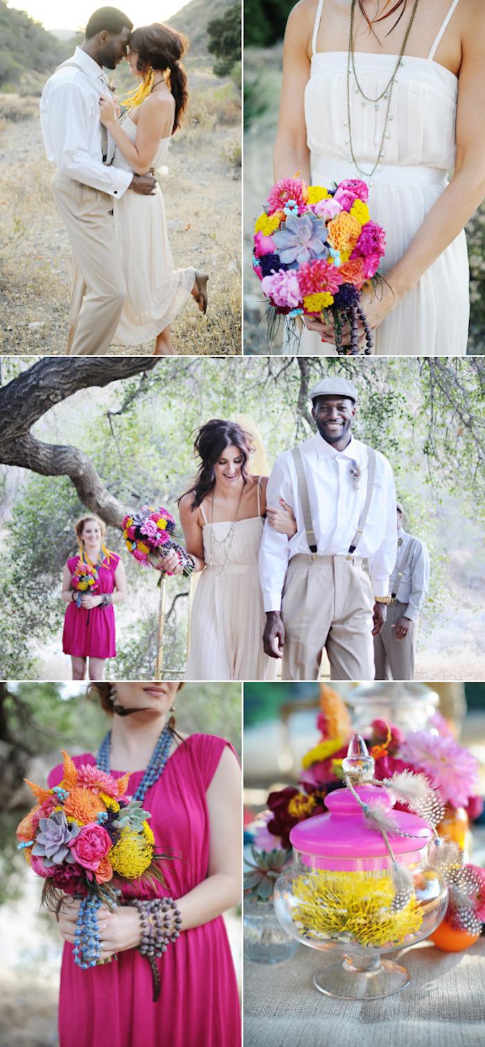 Idée coiffure mariage tendance 2018, la coiffure pour mariage tresse boho stylée, idées pour le mariage bohème chic en rose et jaune