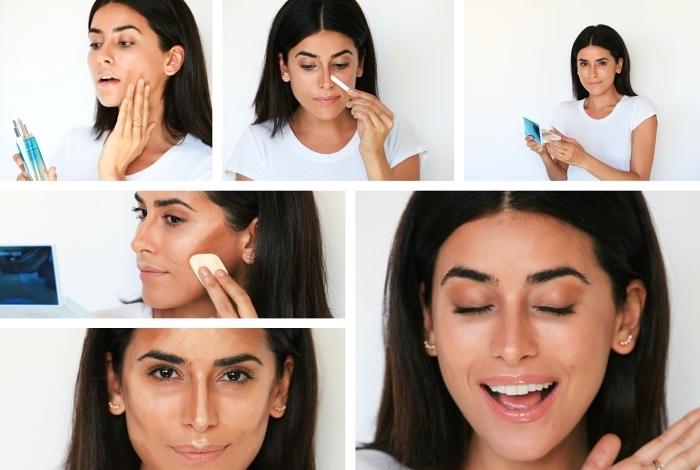 tuto contouring avec les étapes à suivre pour réaliser un contouring peau bronzée, maquillage naturel pour yeux marron