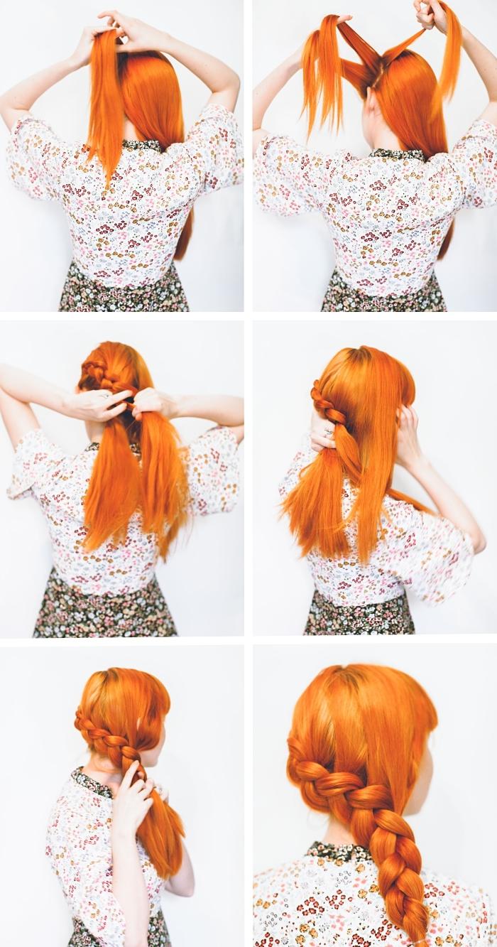 étapes à suivre pour faire une jolie coiffure sur cheveux longs cuivrés, modèle de tresse française réalisée de côté