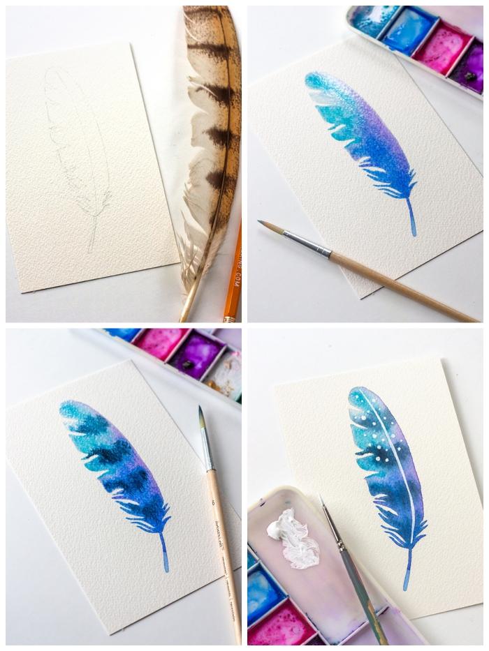 jolie plume couleur galaxie en bleu-violet tachetée de blanc, tuto aquarelle pour apprendre les techniques de couleur be base
