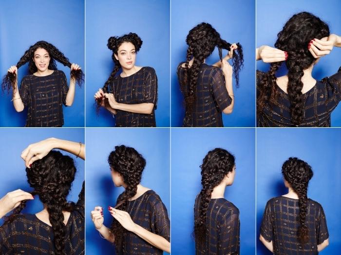 coiffure cheveux crépus facile à réaliser, tutoriel avec instruction pour faire une grosse tresse sur cheveux frisés longs