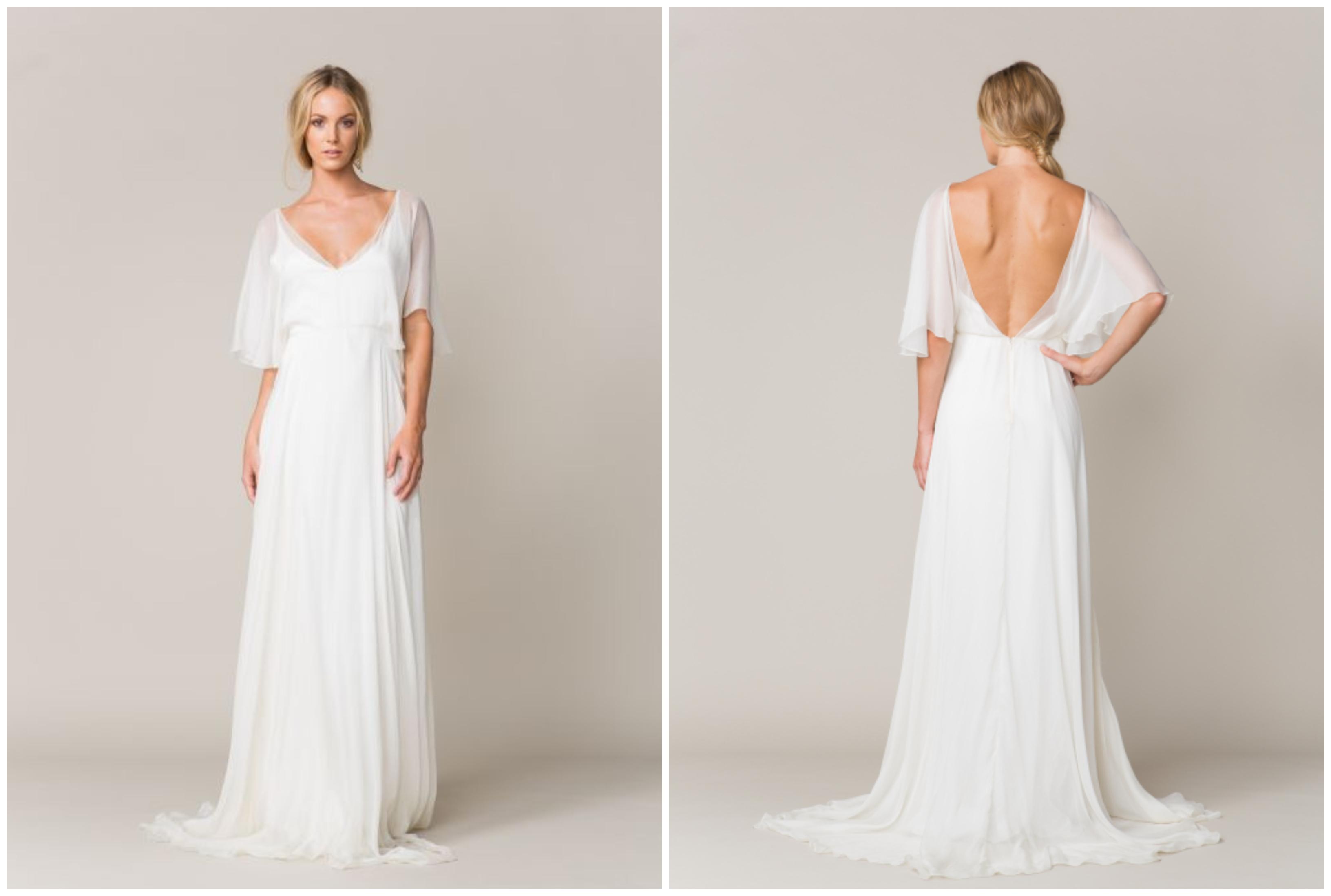 robe de mariée bohème à coupe fluide ajustée à la taille, à dos plongeant et à manche légère évasée