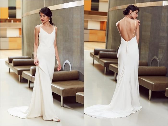 modèle de robe de mariée dos nu du designer anna campbell qui associe une coupe fluide légère avec un dos décolleté sensuel et féminin