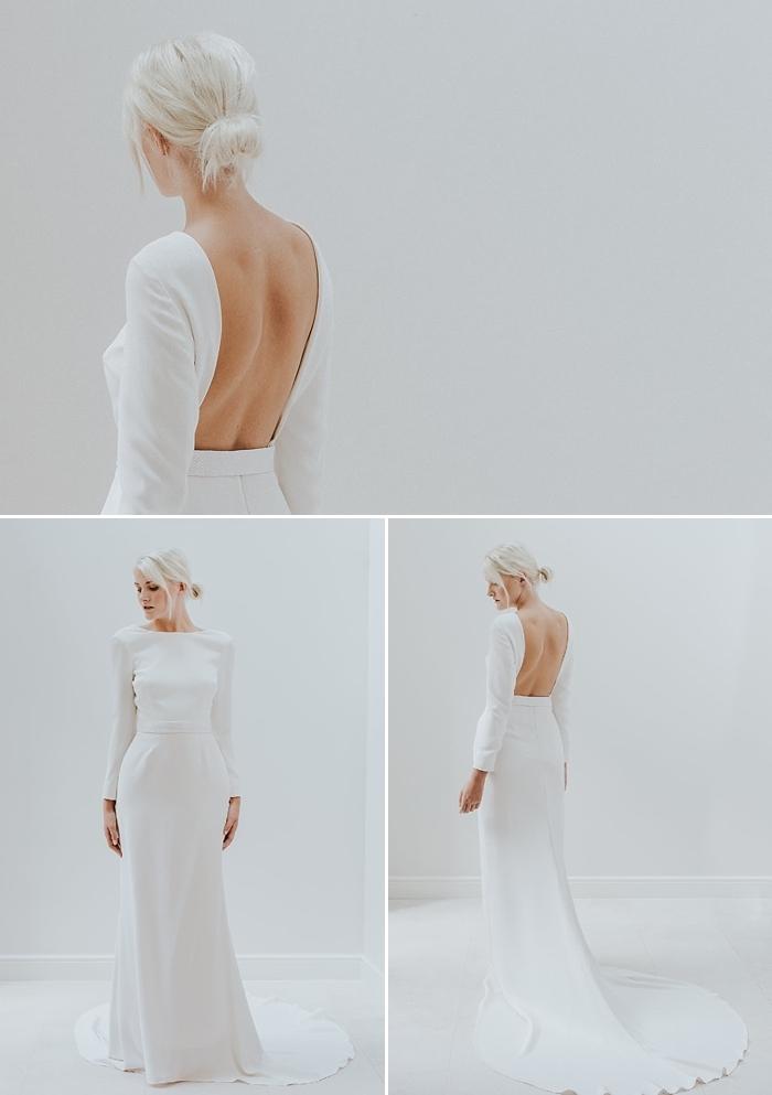 modèle de robe de mariée manche longue à décolleté dos carré pour une allure structurée moderne