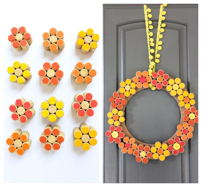 couronne de bouchons de lièges colorés de peinture acrylique jaune, orange et rouge sur un cerceau en carton, deco porte automne, activité manuelle recyclage