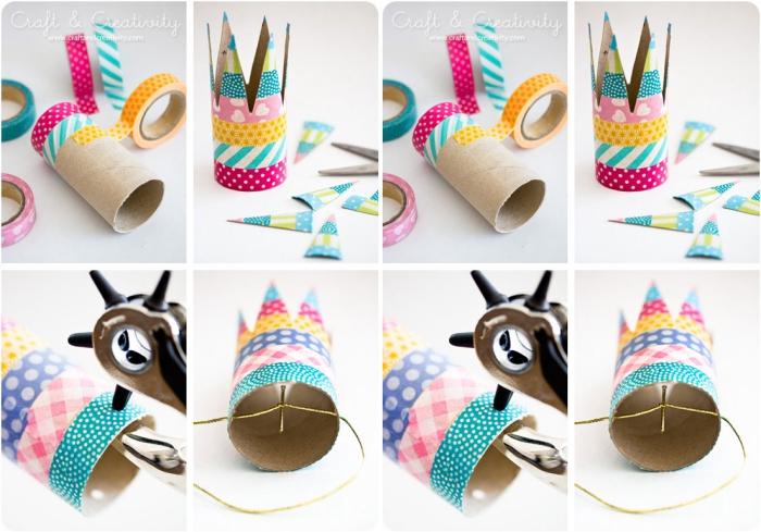 décoration d'anniversaire à réaliser soi-même, activité manuelle avec rouleau papier toilette