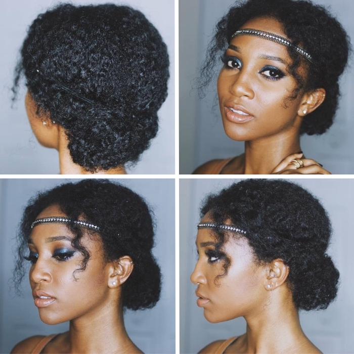 coupe cheveux frisés naturel, modèle de coiffure romantique avec un chignon haut décontracté et une diadème bijou sur le front