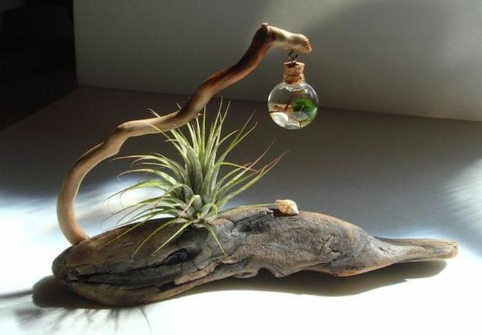 décoration avec matériaux naturels - mini terrarium suspendu à une tige de bois et support morceau de bois