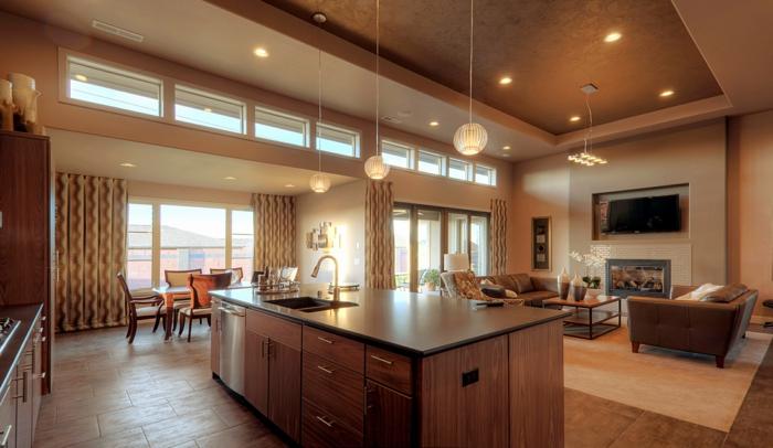 separation cuisine salon, bar de cuisine muni d'évier, faux plafond suspendu