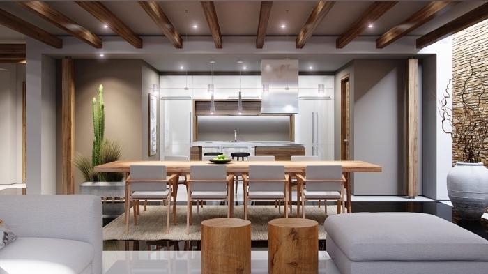style moderne dans un appartement avec cuisine ouverte, modèle de plafond moderne blanc avec poutre en bois et éclairage led