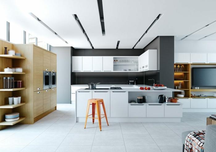 séparation cuisine salon, ilot de cuisine blanc, tabouret tolix, plafond blanc, cloison partielle et placards suspendus