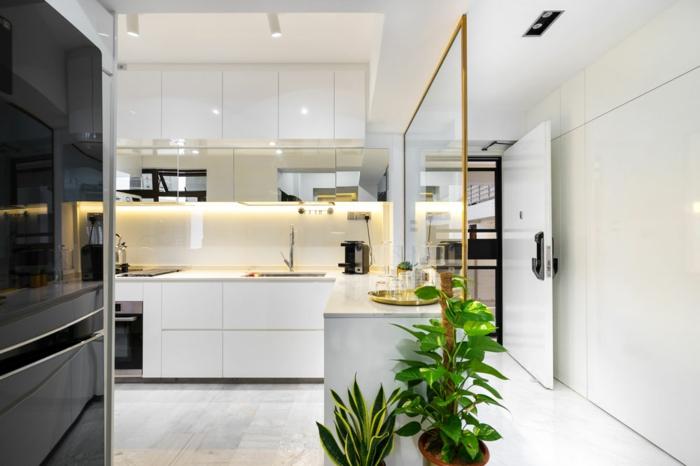 petite cuisine ouverte, ilot blanc, intérieur tout blanc, cloison en verre, espace au design scandinave