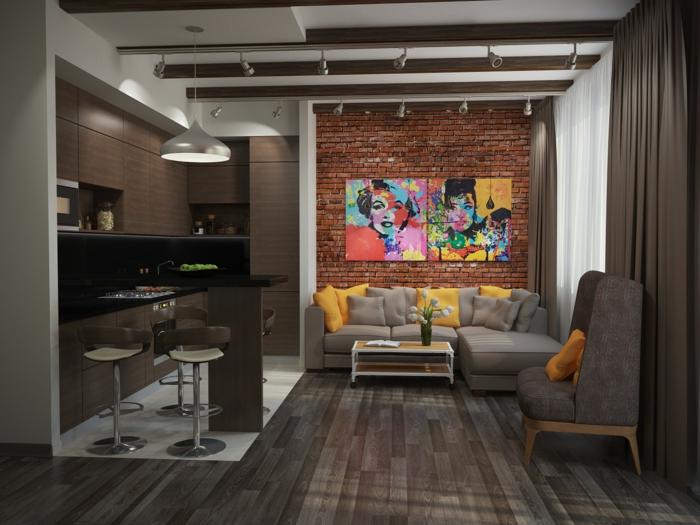 aménagement cuisine petite surface, sol en bois wengé, mur en briques rouges, tableau pop art, déco loft