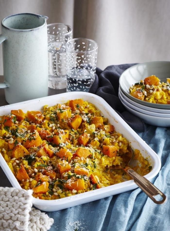 recette végétalienne d automne à base de citrouille, recette de risotto rapide au potiron cuit au four