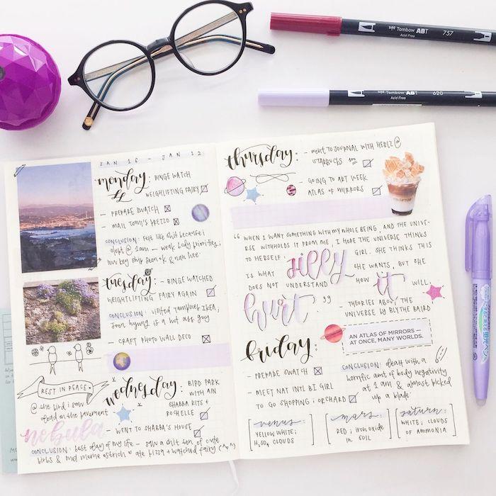 idée planning de la semaine avec de petits dessins, bandes de washi tape pour séparer les journées, images collées