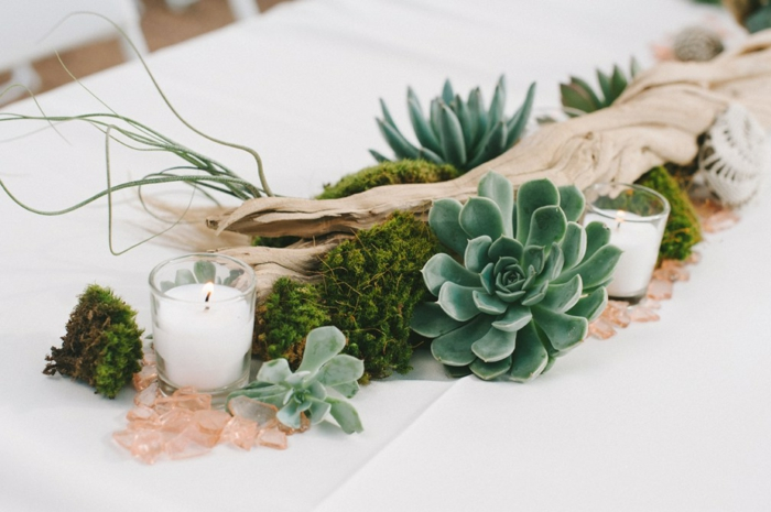 deco a faire soi meme recup, baton de bois décoré de succulents et de petites porte-bougies