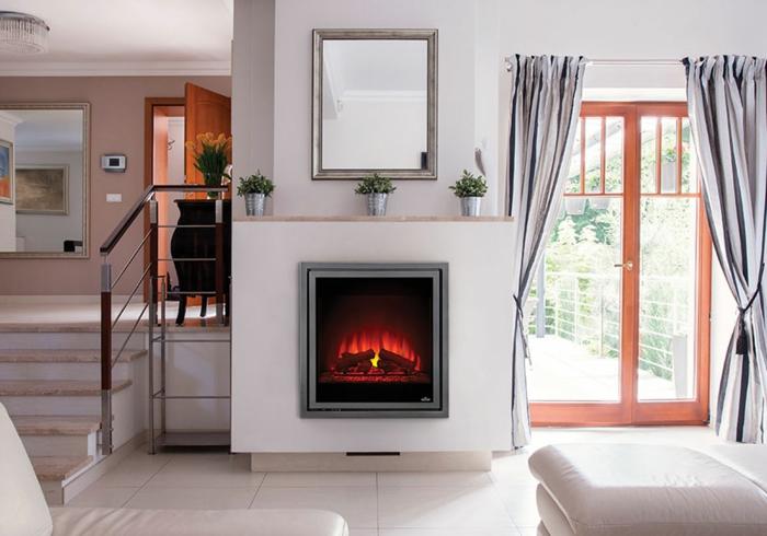 fausse cheminée électrique, cheminée murale blanche, salon contemporain
