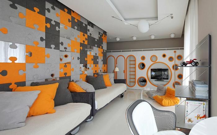peinture chambre garcon, peinture moderne chambre ado, puzzle mural en gris et orange, poufs