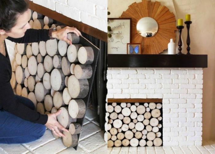 exposition de troncs de bois, cheminée en briques blanches, miroir soleil, bougeoirs