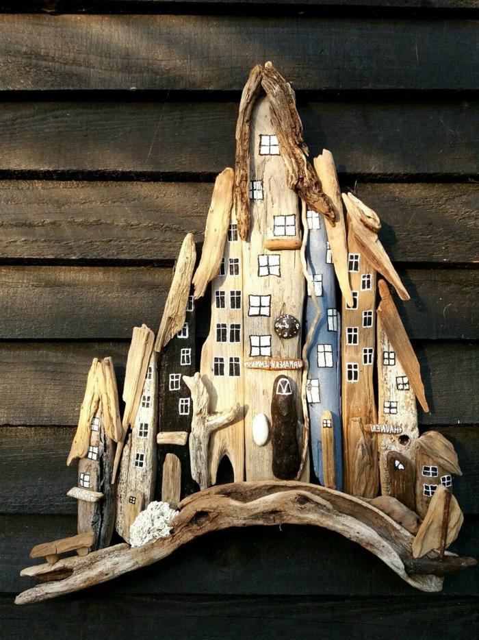 palet fait avec bâtons de bois flotté, décoration diy originale à faire tout seul