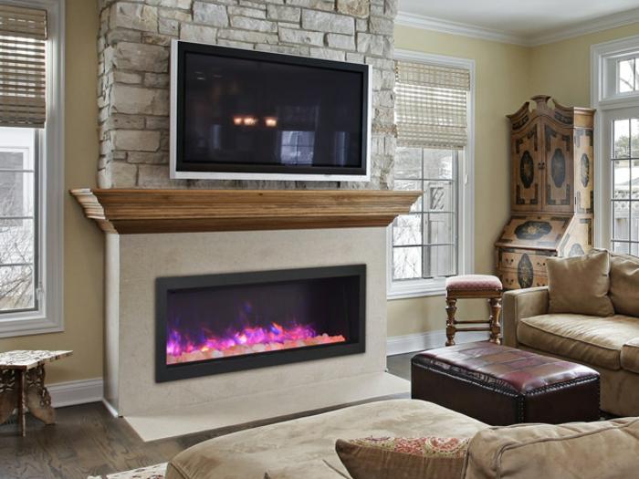 salon style traditionnel, cheminée électrique, tabouret en cuir, sofas beiges