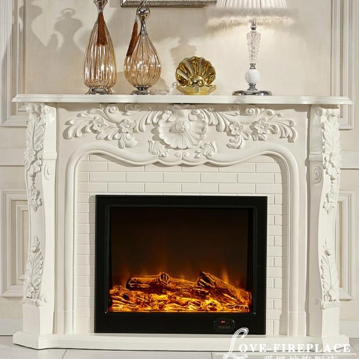 design blanc de cheminé électrique à éffet de flammes, cheminée à fausses flammes