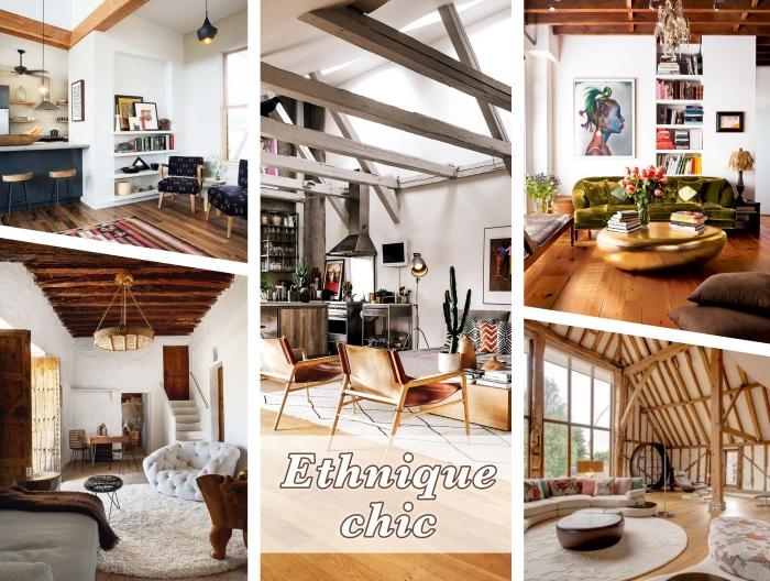 différentes exemples et idee pour refaire plafond dans une déco moderne ou traditionnelle, style ethnique chic avec plafond blanc et bois