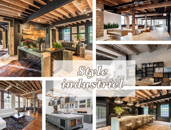 idées comment aménager un salon ou une cuisine de style industriel avec poutre apparente de bois ou murs en briques rouges