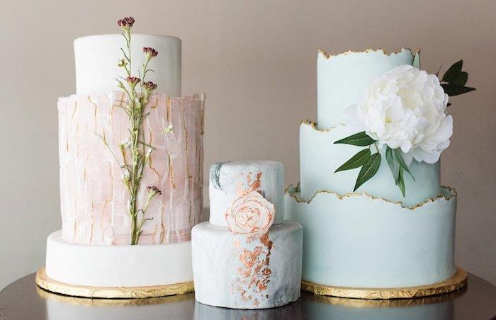 Gateau wedding cake, trois idées magnifiques de gateau original, mariage gateau original, gateau de mariage de luxe