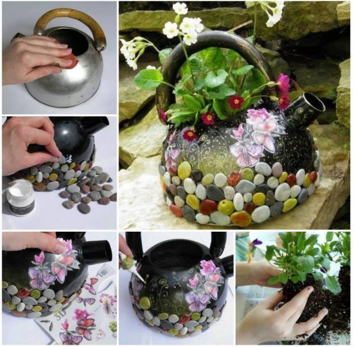 idée géniale pour détourner une vieille bouilloire en pot de fleurs, déco récup pour l'extérieur avec un objet détourné et des galets décoratifs