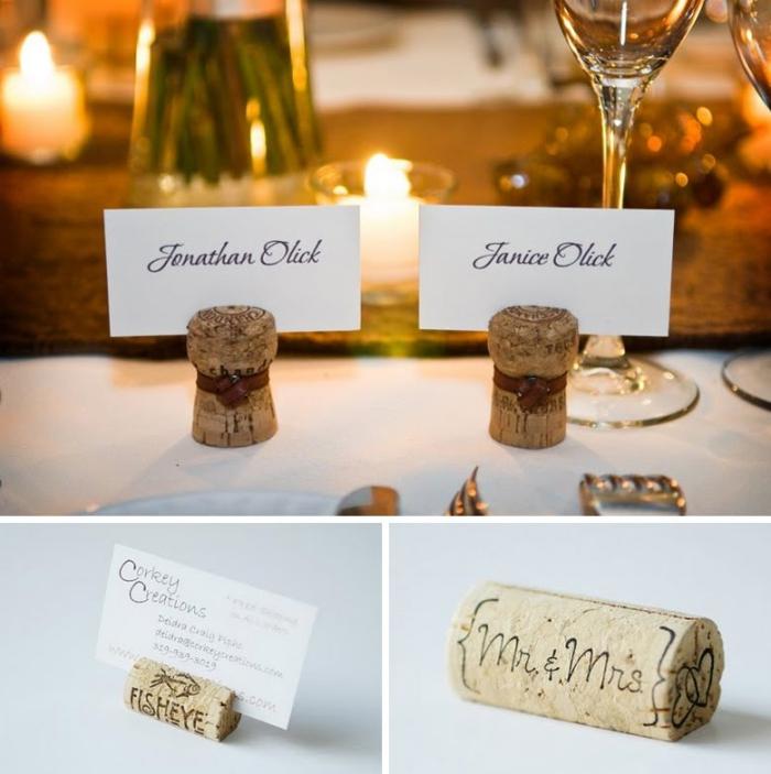 décoration table de mariage champêtre à faire soi-même, marque-places-réalisés avec des bouchons de liège, deco a faire soi meme recup