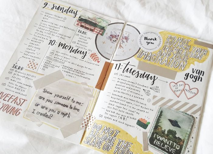 techniques scrapbooking pour customiser son agenda, photos, petite note, wahi tape, timbre et citations