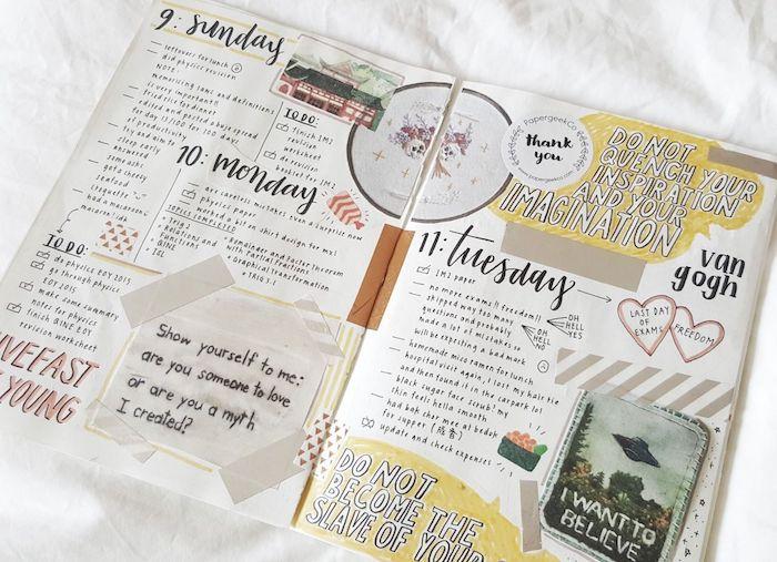 techniques scrapbooking pour customiser son agenda, photos, petite note, wahi tape, timbre et citations