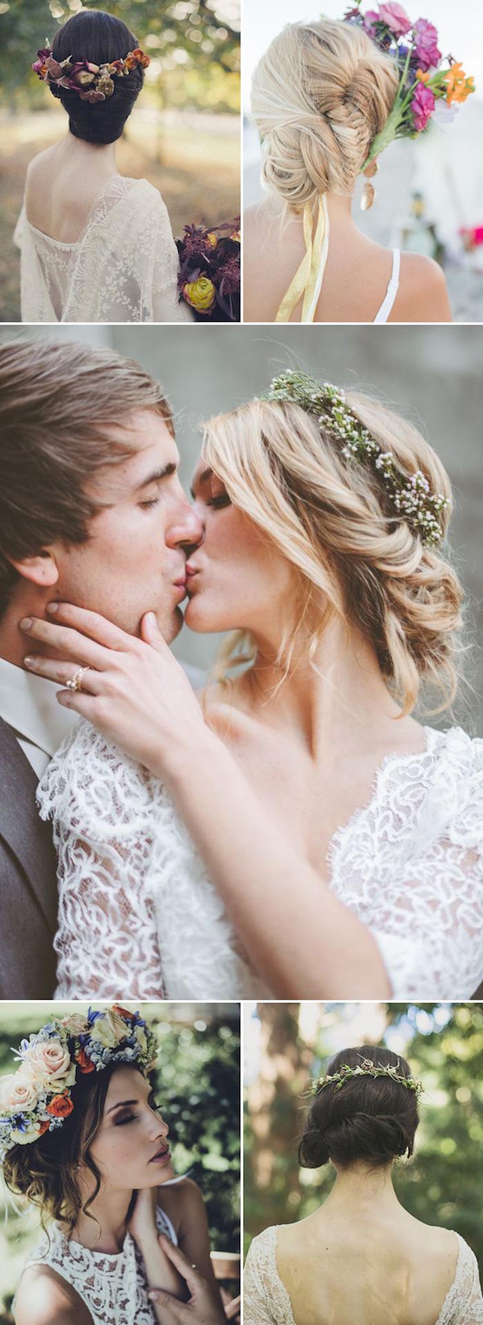 Cool idée hignon boheme coiffure mariage bohème dans un jardin, idée tenue et coiffure ensemble, chignon de tresse, couronne de fleurs mariage