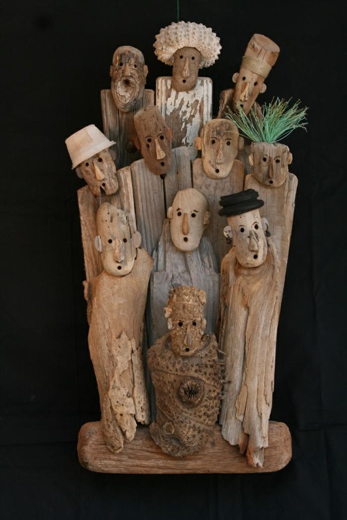 figures humaines rigolo, deco a faire soi meme recup, création de bois flotté