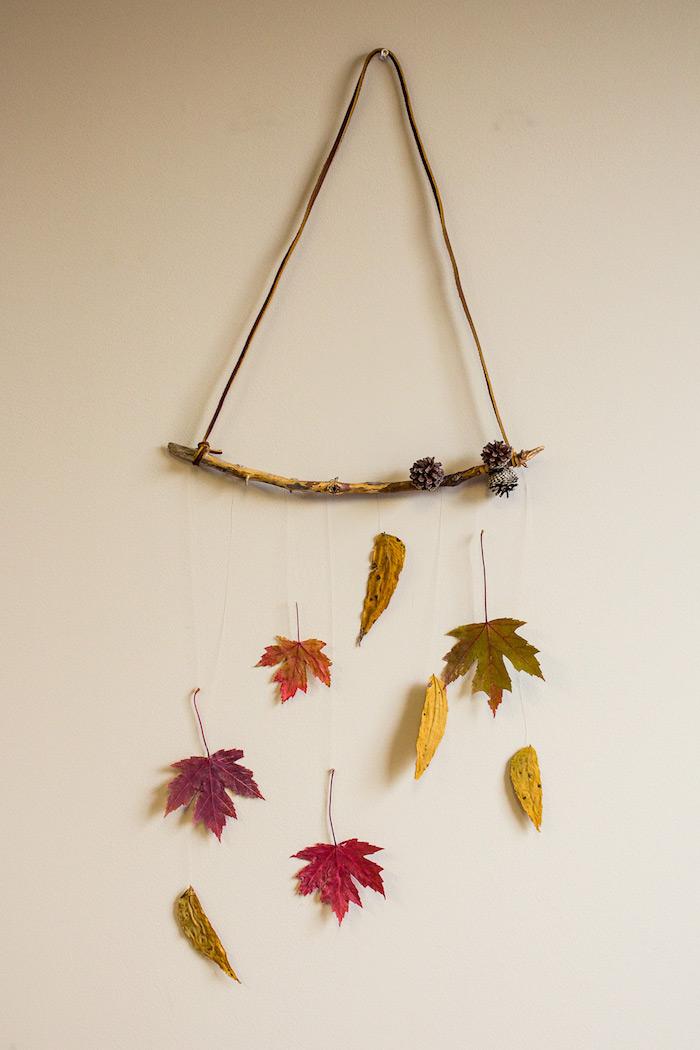 deco bois flotté suspendu au mur avec des feuilles mortes suspendues et deco de pommes de pin