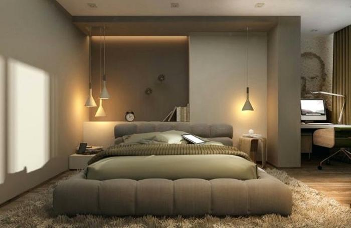 intérieur couleur taupe, tapis moelleux beige, lit bas duvet beige, lampes pendantes, niche murale éclairée, peinture chambre adulte