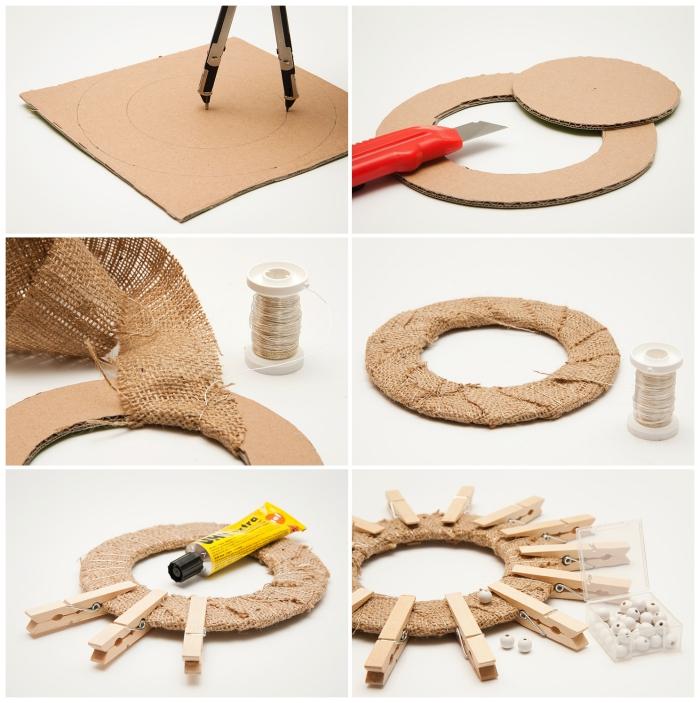 que faire avec des pinces à linge en bois, deco recup couronne en carton habillée de toile de jute
