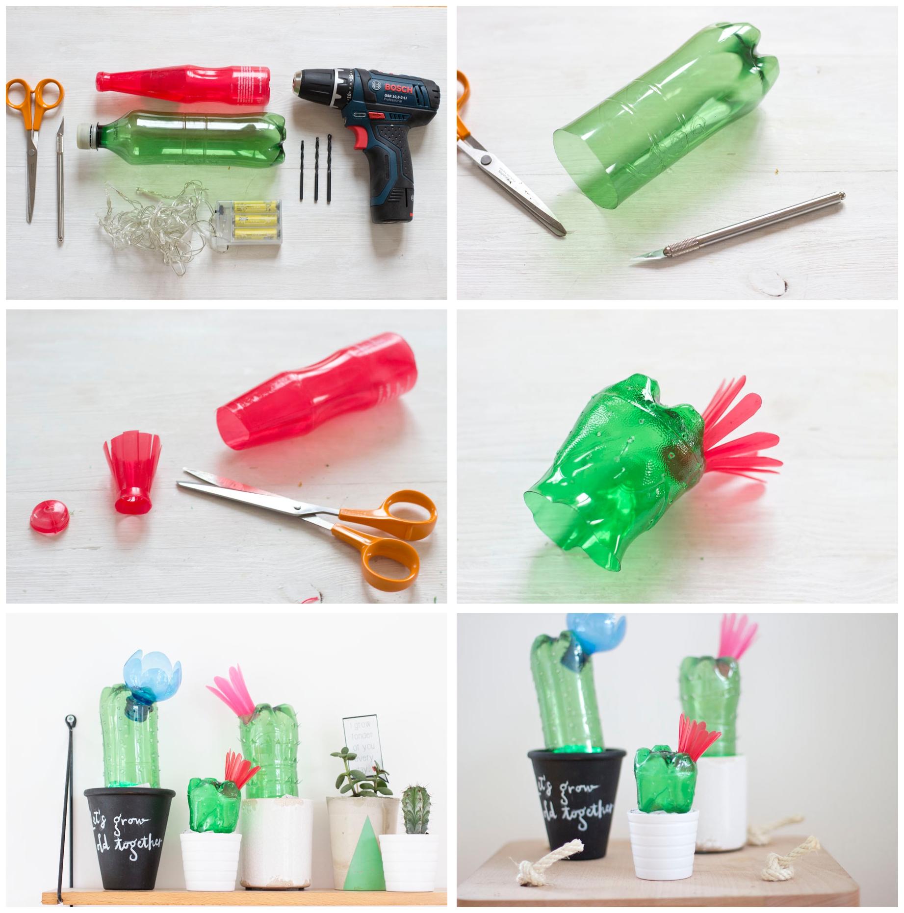 bricolage facile avec objet recyclé, des cactus en bouteilles en plastique et leurs pots