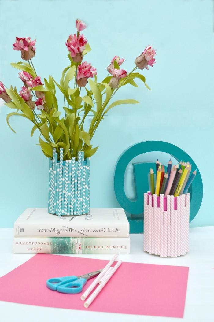 décoration de bureau à faire soi-même, pot à crayon décoré avec des pailles recyclées, deco recup facile pour votre bureau