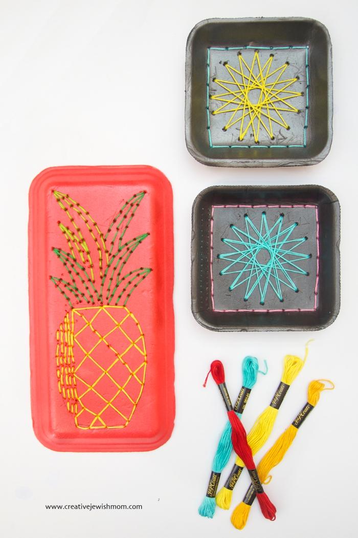 idée de bricolage récupération original avec plateau de polystyrène à motifs brodés