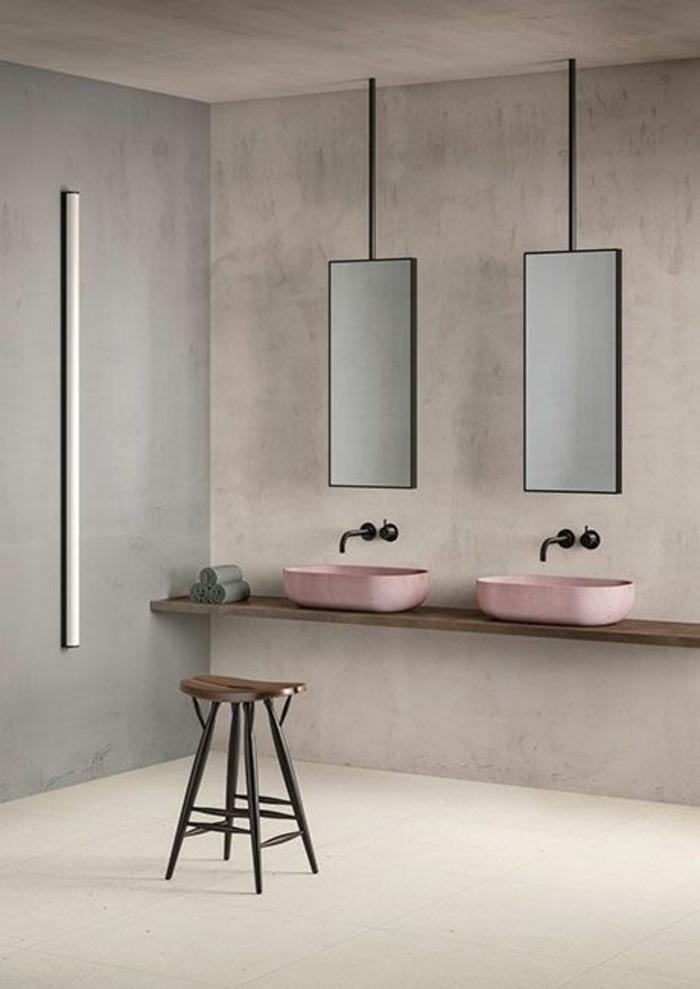 idee salle de bain, modele de salle de bain, deco salle de bain zen, modele carrelage salle de bain, murs en gris clair, deux lavabos en forme rectangulaire rose